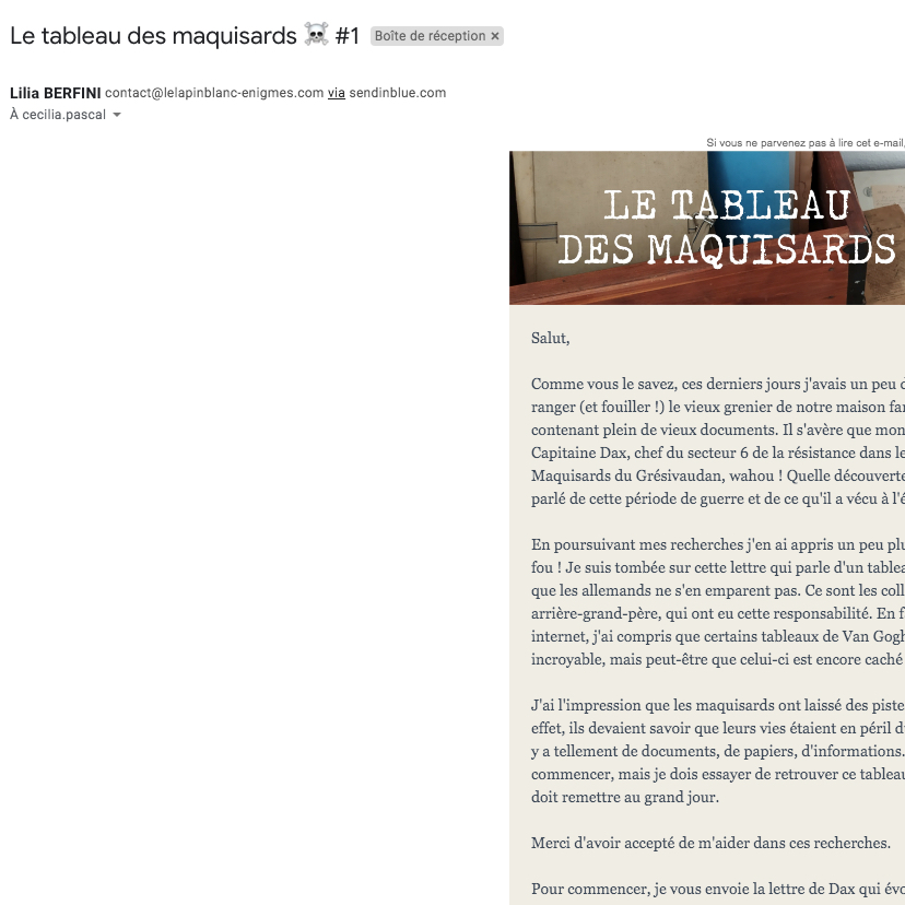 Premier mail du jeu, envoyé par votre acolyte Lilia Berfini