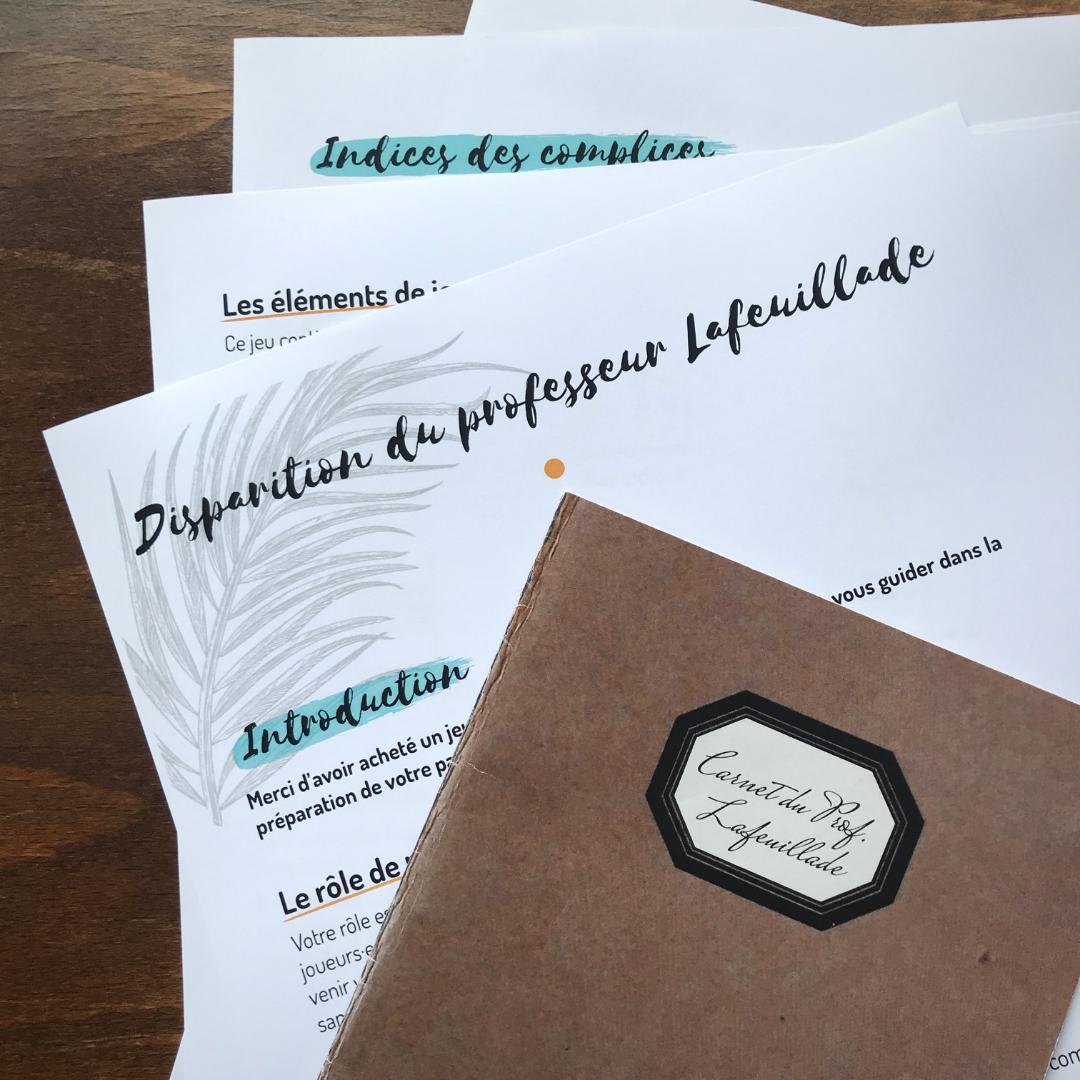 Documents pour le maître du jeu et carnet du professeur Lafeuillade