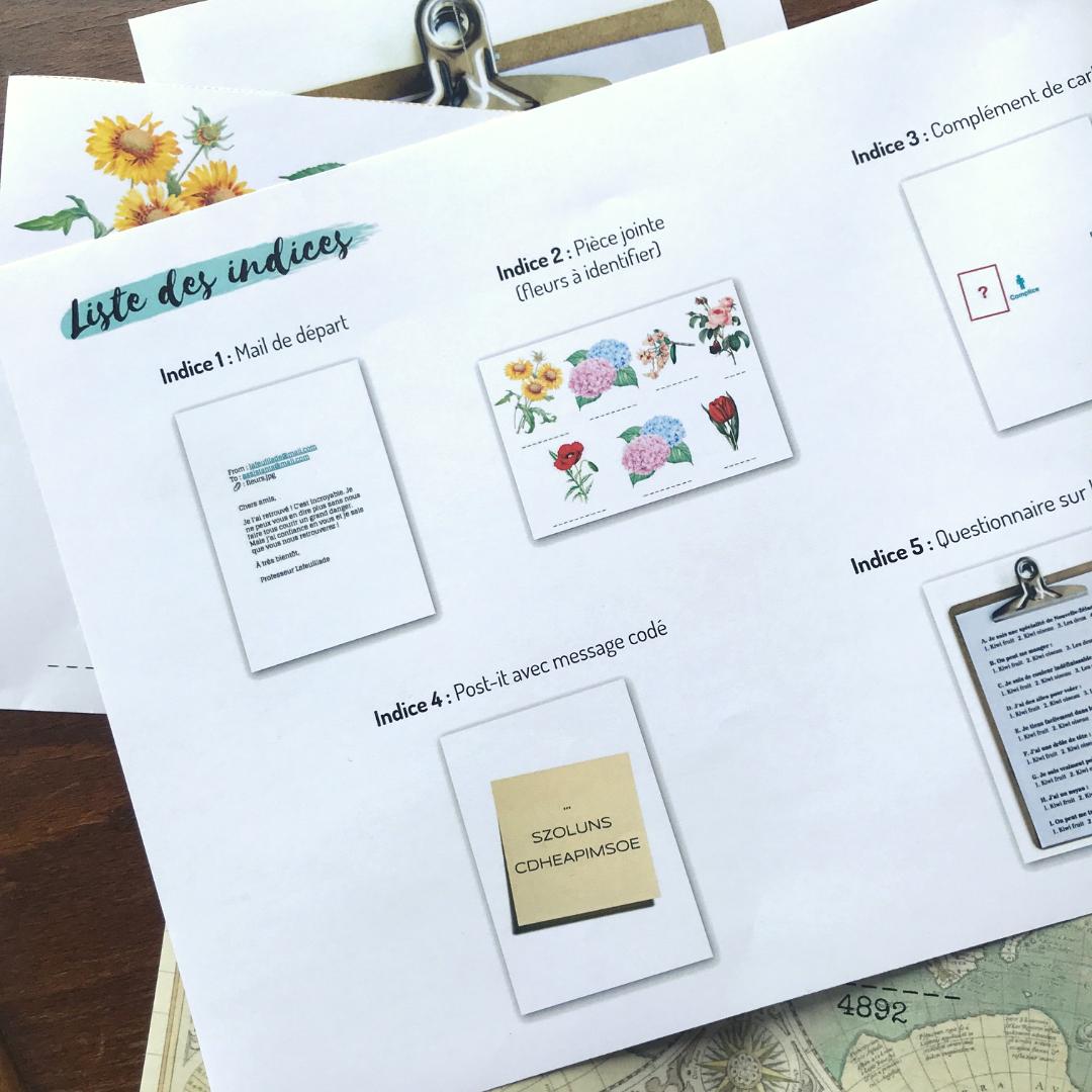Documents pour le maître du jeu, détail des indices à préparer et donner pendant le jeu